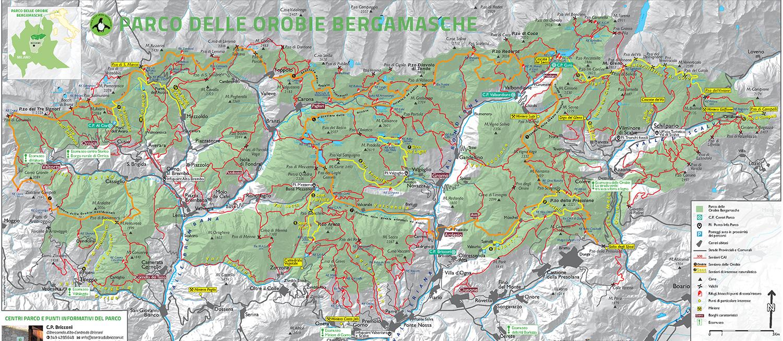 Cartina estiva Lizzola Orobie sentieri parcoorobie.it